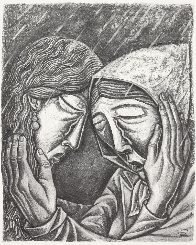 Mary and Marth weep for Lazarus and for one another